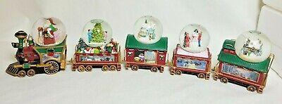 Bradford Exchange Wonderland Express Mini Train Thomas Kinkade Snowdome Set/5 Pc