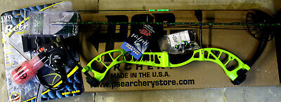 NEW PSE D3 Bowfishing Compound Bow AMS PRO Reel, Rest,  Arrow COMPLETE KIT green