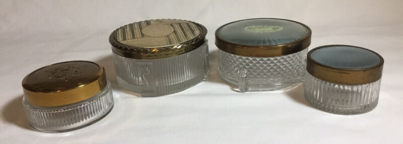 4 Vtg Glass Lidded Vanity Jars, Trinket Dresser Holders,  Art Deco Makeup Powder