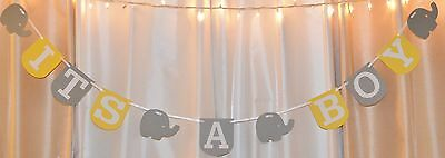 its a boy baby shower yellow /grey elephant hanging banner decor](Boy Elephant Baby Shower)