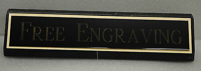Desk Name Plate Black Marble Base Colored Brass With Gold Aluminum Back