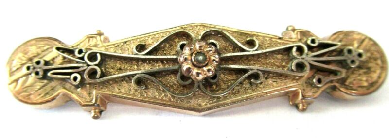 Victorian 9K Rolled Gold & Pearl Bar Pin Brooch