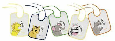 Lätzchen, Spucktuch, Bindelatz Latz, Kleiderschutz, Essen Baby 5er Set Tiere