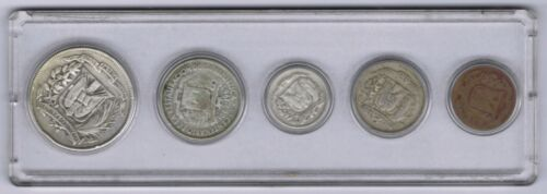 Dominican Republic Coin Set of Five (5) includes 3 Silver Values in Plastic Case