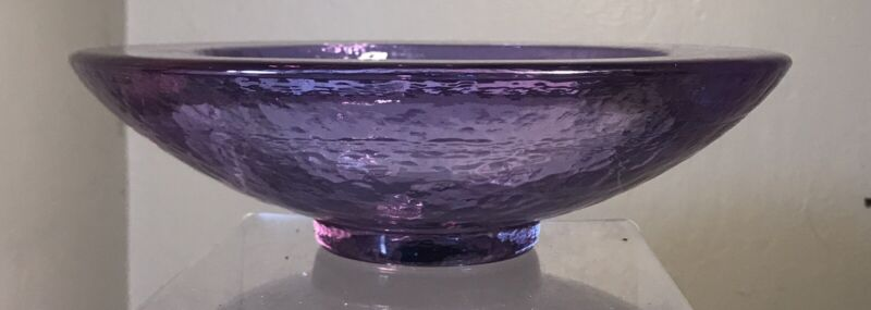 FIRE AND LIGHT ART GLASS WIDE LIPPED BOWL LAVENDER NEODYMIUM #2 OF 2 PIECES