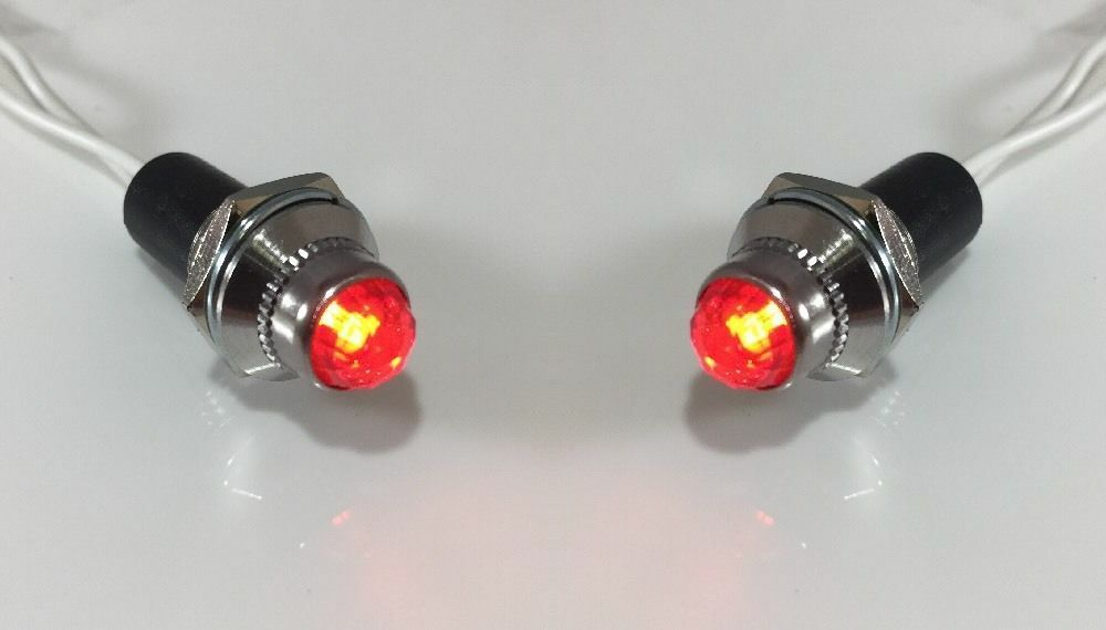 NEW Pilot Dash Indicator Warning Light RED Pair 12V - Vintage Classic Hot Rod