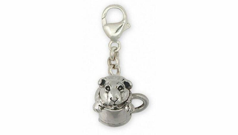 Guinea Pig Zipper Pull Jewelry Sterling Silver Handmade Piggie Zipper Pull GP9-Z