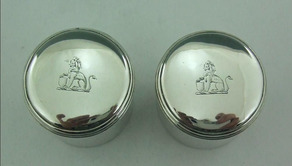 AN EXCELLENT PAIR OF GEORGIAN SILVER COUNTER BOXES JOHN REILLY 1804