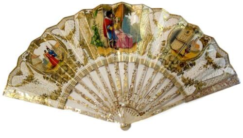 Antique mid 19th c. (or before) hand painted fan. Openwork with gold linkage.