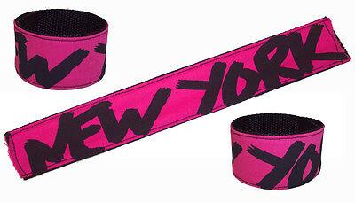 80s Slap Bracelets (Pink & Black Graffiti Art 80's Slap Bracelet Wristband NYC Hot Pop New York)