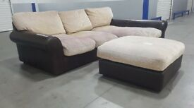Harveys - Leather/fabric L-shape corner sofa with pouff