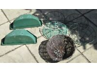 GARDEN/PATIO HANGING BASKETS, TOTAL 7, assorted sizes and designs, in good condition