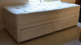 Sealy single bed and mattress with draws