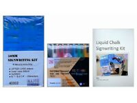Liquid Chalk marker signwriting kit - Waterproof & removeable with household cleaner. FREE P&P
