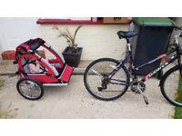 Ladies bike and kids trailor