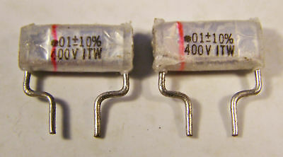 4 Itw Paktron .01uf 400v Poly Film And Foil Capacitors -10 Nos Vintage