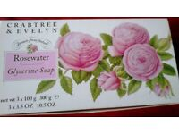 New boxed Crabtree & Evelyn Rosewater Glycerine Soap