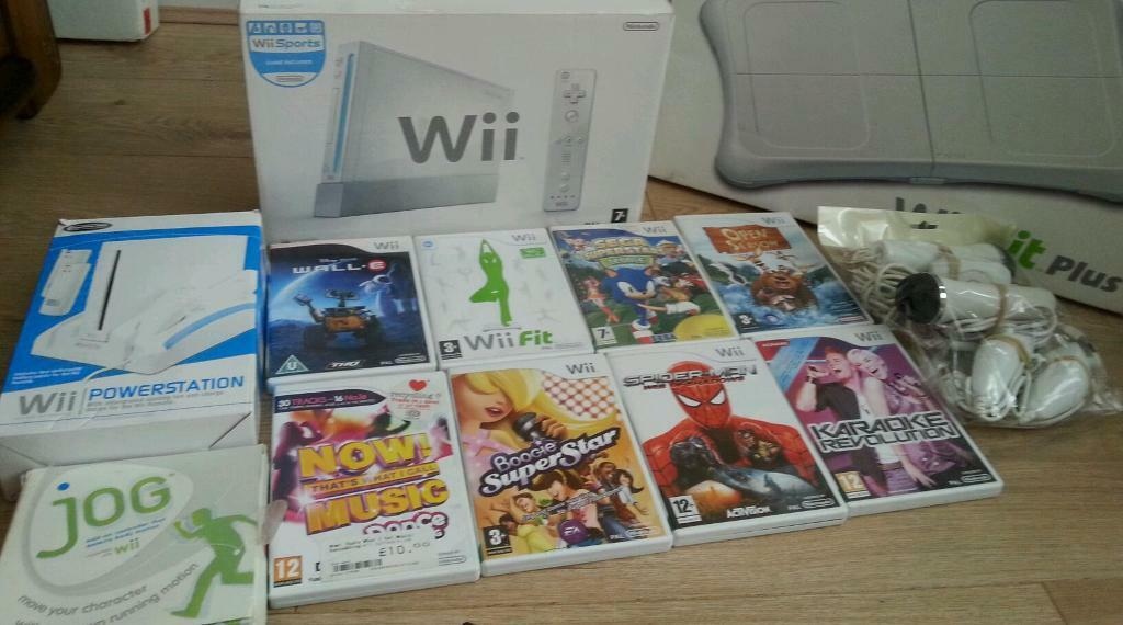 Nintendo wii complete console with games Nintendo wii fit board Nintendo wii wheel and standin Bradford, West YorkshireGumtree - Nintendo Wii complete console with Wii Fit board Nintendo Wii stand and wheel micro phones and games in good condition and in full working order can be tested collection ideal for a birthday present to keep kids entertained for more info you can...