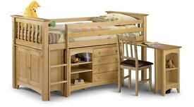 Mid sleeper -Julian Bowen Barcelona midsleeper with pull out desk ,drawers and cupboard