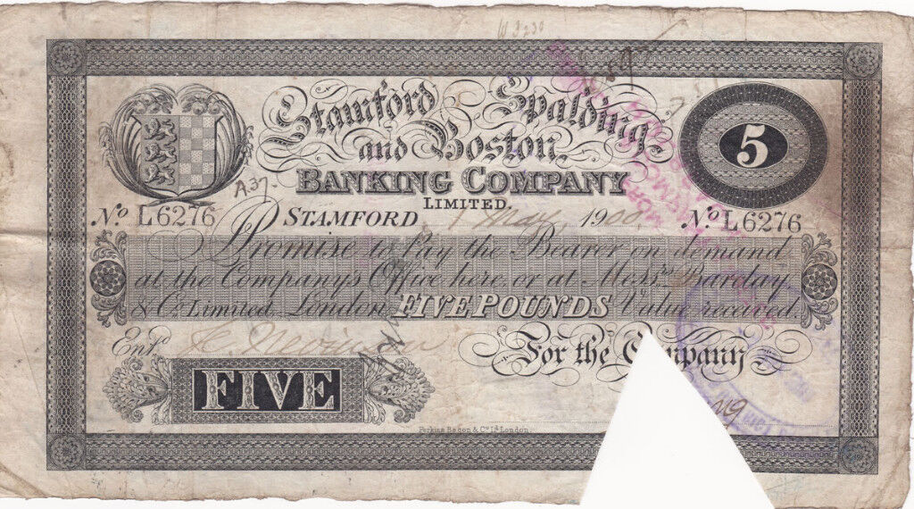 1900 Provincial English £5 bank note - Stamford,Spalding & Boston in Very Fine condition