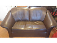Great two-seater sofa in brown leather effect