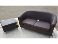Brand New 2 Seater Leather Effect Tub Sofa And Footstool-Chocolate