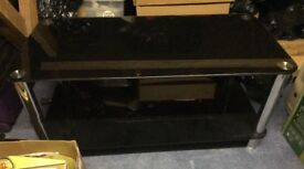 Black glass coffee table, nest of tables (3), black lamp