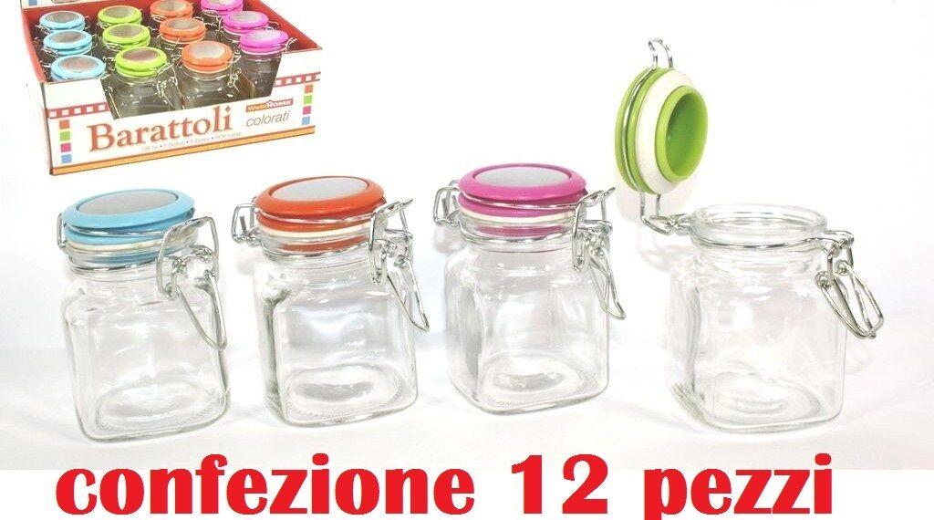 Set 12 Pezzi Barattolo Barattolino Con Tappo Colorato Porta Spezie Vetro moc