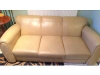 One cream leather 3 seater & one cream leather chairs - LOCAL FREE DELIVERY