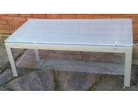 glass coffee table. 120 x 60cm, frosted top, removable clear lower shelf. In very good condition