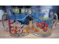 Disney Pixar Finding Nemo glass mugs/glasses with handles