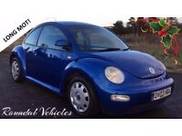 IMMACULATE 2003 BEETLE 1.6 3 DR Royal blue metallic, charcoal interior, 11 months MOT VERY CLEAN CAR