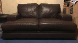 Chocolate Brown Leather Sofa (Collection Only! & Smoke Free Home)