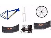 Fatty trail mtb frame, fork, front wheel and 2xfat tyre bundle all in mint condition unused