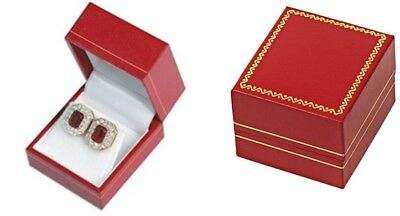 12 Classic Red Leatherette Earring Jewelry Display Gift Boxes