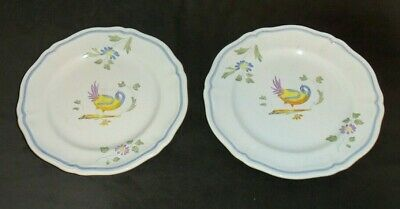 Set of 2 Longchamp France Perouges Salad Plates Bird French Pottery Salad Plate Set