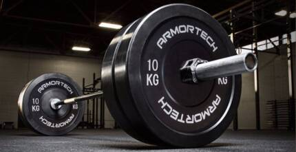 NEW *100KG COMMERCIAL BUMPER PLATE PACKAGE DEAL WITH BARBELL