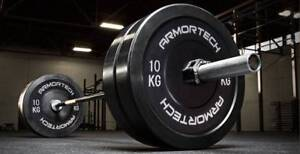 NEW 100KG COMMERCIAL BUMPER PLATE PACKAGE DEAL WITH BARBELL