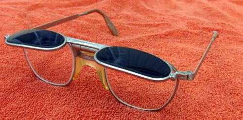 VINTAGE FENDALL WELDING SAFETY GLASSES w FLIP UP BLUE SHADES