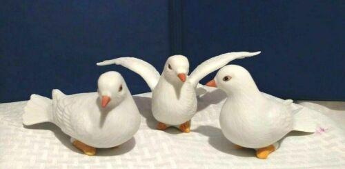 Set of 3 Porcelain White Love Doves / Birds from Homeco