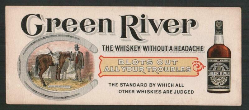 GREEN RIVER WHISKEY 1899 INK BLOTTER ~ BLACK AMERICANA GRAPHICS MAN WITH HORSE