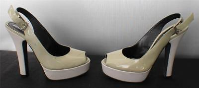 "FENDI Italy US7.5 EU 37.5 Gray Lacquer Platform 5.5"" Heel peep toe Shoes Sandals"