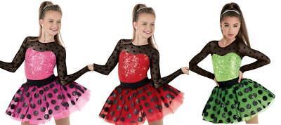 Dance Costume 6x-7 or Medium Child Lime or Pink Jazz Dress Tutu Sassy TRIO