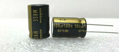 2x Nichicon Muse Kz 100uf 100v Electrolytic Capacitor. Usa Seller