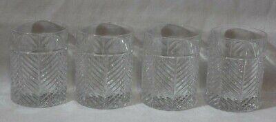 Ralph Lauren Herringbone Crystal Double Old Fashion Glasses Set of Four (Ralph Lauren Glass)