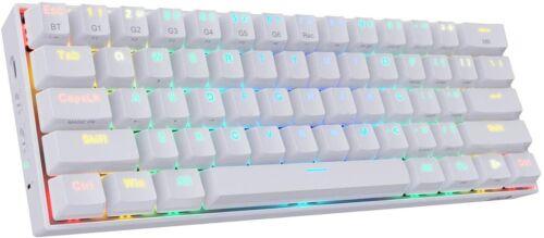 REDRAGON K530 Mechanical Keyboard, RGB, BT, 61keys, Brown Switches, White, used