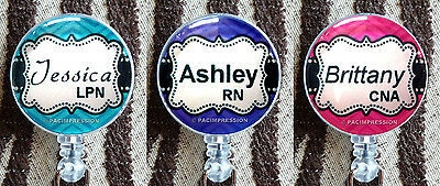 Personalized Badge Holders (Personalized Badge Reel Retractable ID Name Card Holder Chevron Purple Pink)