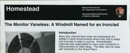 New THE MONITOR VANELESS WINDMILL  - NE  NATIONAL PARK SERVICE UNIGRID BROCHURE