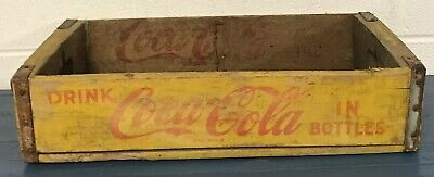 Vintage 1969 Coca-Cola Drink In Bottles Yellow and Red Wood Crate
