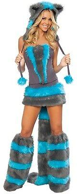 Sexy Kostüm Katze Cheshire Alice - Wunder Karneval Halloween T.U (S-M)